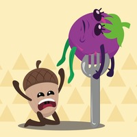 Acorn crying for brinjal on fork