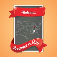 Alabama state map poster