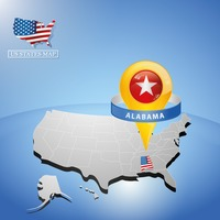 Alabama state on map of usa