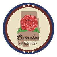 Alabama state with camelia flower