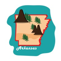 Arkansas state map with mountains