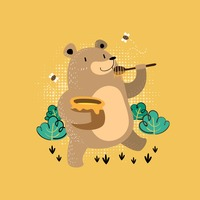 Bear eating honey