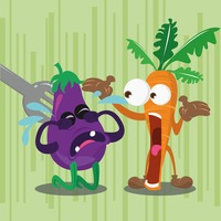 Brinjal being eaten and angry carrot