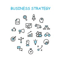 Business strategy icon set