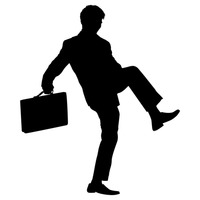 Businessman lifting up leg silhouette