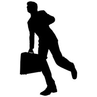 Businessman running with briefcase silhouette