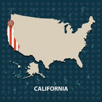 California state on the map of usa