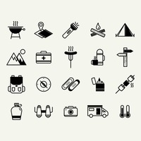 Camping and road trip icons
