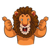 Cartoon lion giving two thumbs up