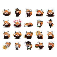 Cartoon red panda expressions pack