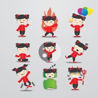 Chinese girl character with different actions