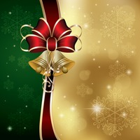 Christmas design with ribbons and bell