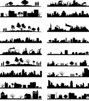 City landscape silhouette collection