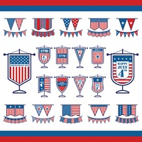 Collection of american independence day icons