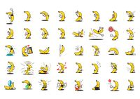 Collection of banana characters