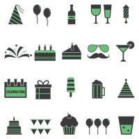 Collection of celebration icons