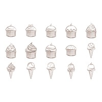 Collection of cupcakes and ice cream cones