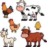 Collection of pixel art farm animals