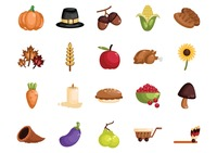 Collection of thanksgiving icons
