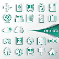Collection of travel paper icons