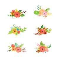 Collection of watercolor flowers with leaves
