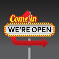 Come in we re open signboard