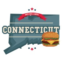 Connecticut map with hamburger