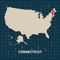 Connecticut state on the map of usa