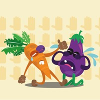 Crying carrot and brinjal