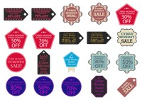 Cyber monday sale tags and stickers
