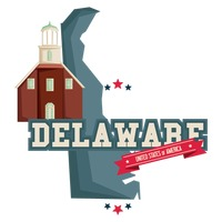 Delaware map with protestant church