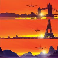 Design of plane flying over famous landmarks