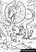 Dilophosaurus with hatchlings