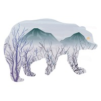 Double exposure of bear and nature