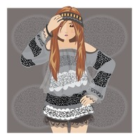 Popular : Fashionable hipster girl