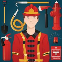 Firefighter with equipment