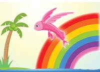 Fish over a rainbow background