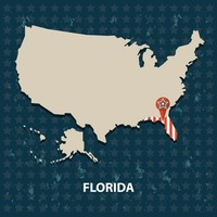 Florida state on the map of usa