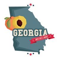 Georgia map with peach