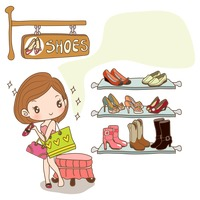Girl shopping for new shoes