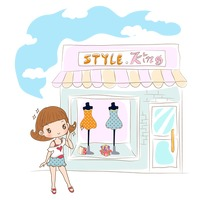 Girl standing outside a shop