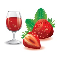 Glass of strawberry juice and fruits
