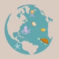 Globe showing aquatic animals