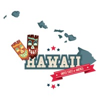 Hawaii map with tiki mask