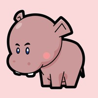 Hippopotamus on a pink background