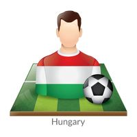 Hungary player with soccer ball on field