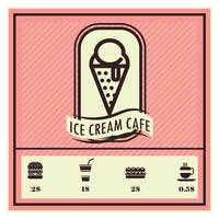 Ice cream cafe menu card design