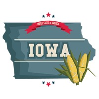 Iowa map with corn field