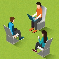 Isometric of people sitting on chairs