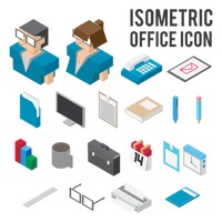 Isometric office icons collections